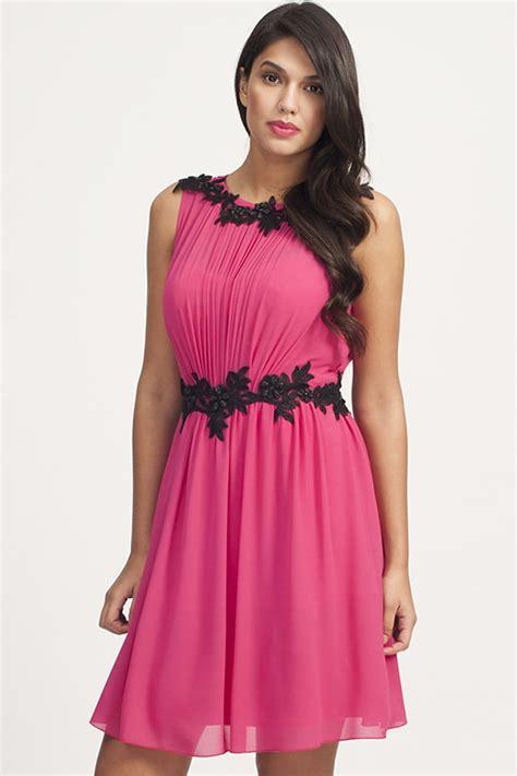pink black floral lace applique chiffon dress