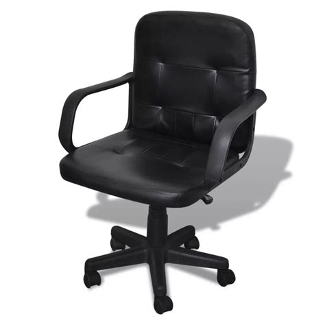 Luxury Leather Office Chair Height Adjustable Swivel Black Swivel Leather Desk Chair