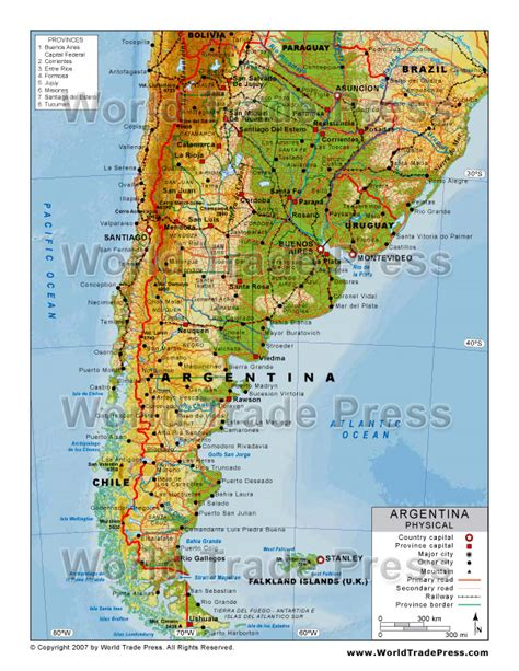 argentina physical map argentinien physik karte