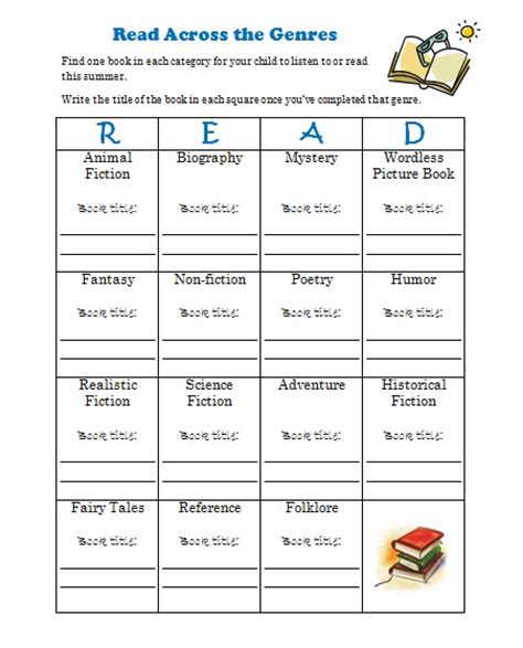 free printable reading log with genre free summer reading log printable genre challenge free
