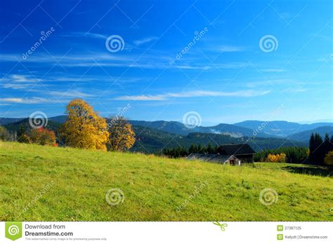 Landscape Photography Overexposed Sky Autumn Mountain Landscape With Blue Sky Royalty Free Stock