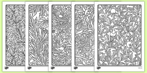 William Morris Themed Mindfulness Colouring Sheets William William Morris Colouring Pages
