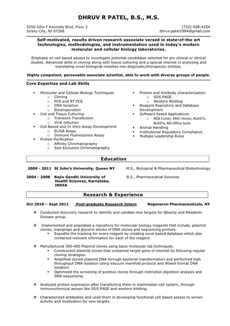Chemistry Lab Assistant Sle Resume by Resume Biology Lab Skills 28 Images Professional Chemistry Lab Assistant Templates To