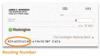 Bank Routing Number The Huntington National Bank Routing Number Banks America