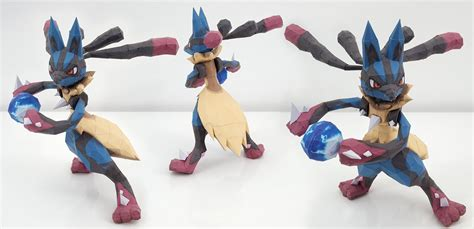 Lucario Papercraft - papercraft mega lucario by anthonyetemilie on deviantart