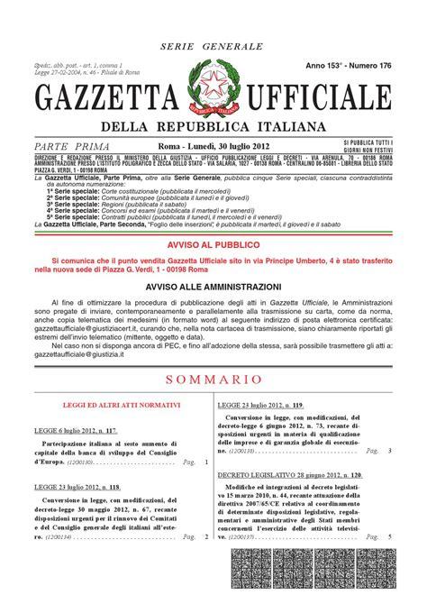 libreria dello sport roma gazzetta ufficiale serie generale n 176 30 07 2012 by