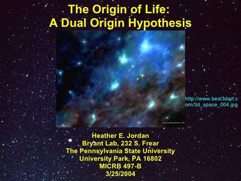 origin of the the origin of dual origin hypothesis