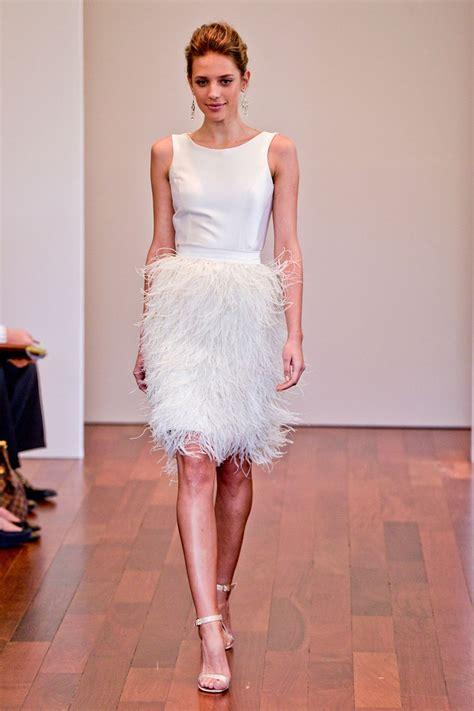 ostrich feather wedding dress simple informal short