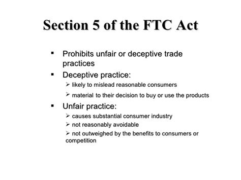 Section 5 Federal Trade Commission Act by Beware Of Greenwashing