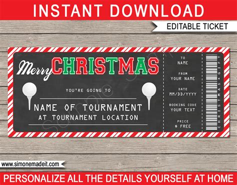 christmas golf ticket gift voucher golf tournament ticket template