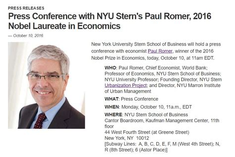 How Many Credits For Nyu Mba by Nyu Goof Up On Economics Nobel For Paul Romer Shows