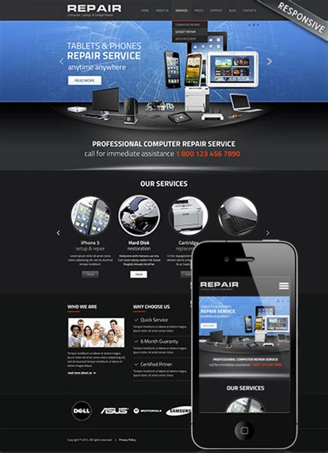 computer website templates free computer repair theme best website templates