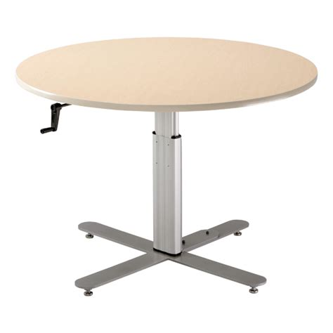 populas ada adjustable height pedestal table w crank