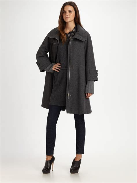 swing raincoat weekend by maxmara wool swing coat in gray grey lyst