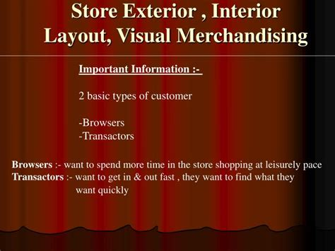 store layout design and visual merchandising powerpoint ppt store exterior interior layout visual