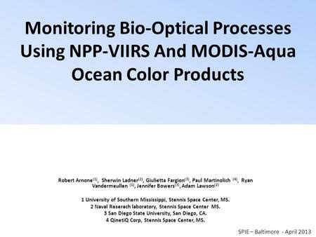qinetiq data diode evaluation of recent viirs sensor performance in the coastal ppt