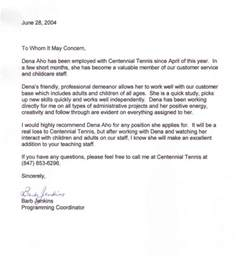 letter of recommendation previous employer