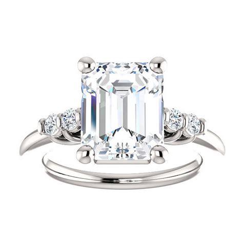 dallas ring 3 5 carat emerald cut moissanite engagement