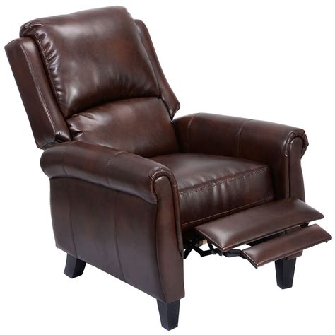 recliner accent chair leather push   leg rests living room home furniture ebay