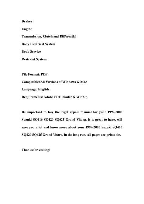 book repair manual 1999 suzuki grand vitara parental controls 1999 2005 suzuki sq416 sq420 sq625 grand vitara service repair worksh