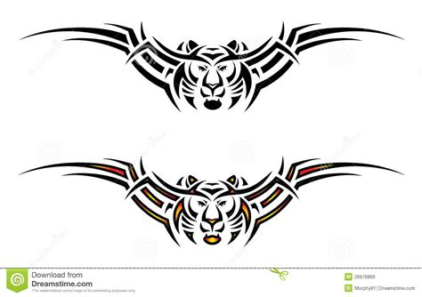 isolated tiger tribal tattoo stock vector illustration