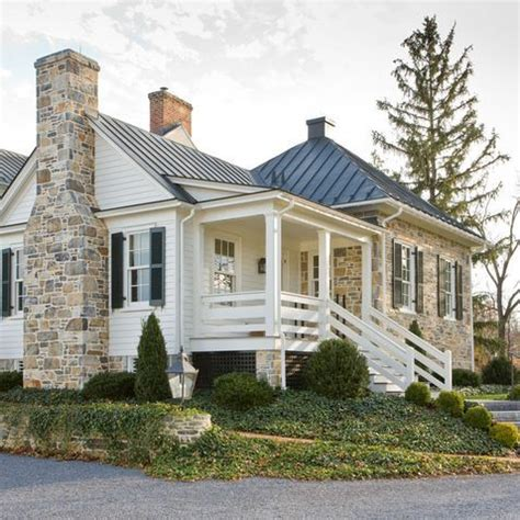 white siding house stone metal roof white siding combo exterior pinterest metals house and white