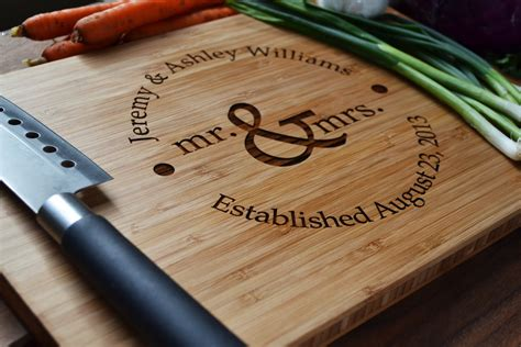 personalized cutting board mr and mrs circle