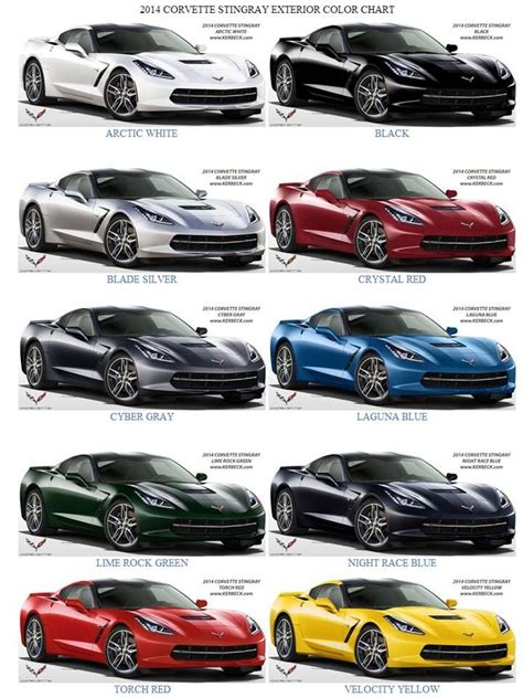 2014 corvette colors 2014 corvette c7 stingray exterior color chart decisions