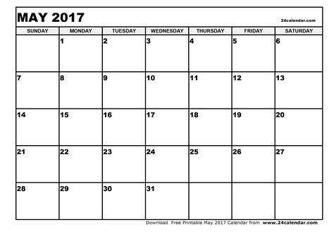 Calendar Printable Pdf 2017 May 2017 Calendar Pdf Weekly Calendar Template