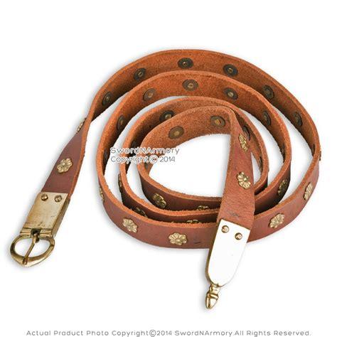 renaissance viking celtic leather belt with brass