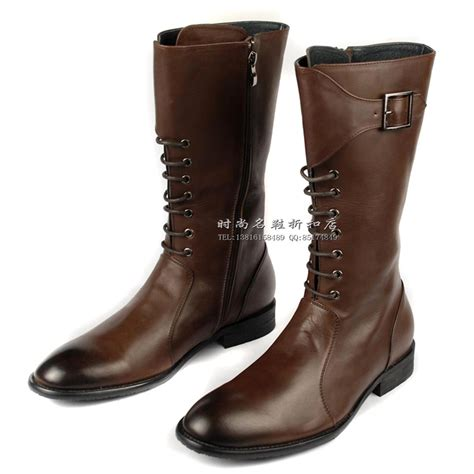 mens leather knee high boots fashion boots high leg trend s genuine leather