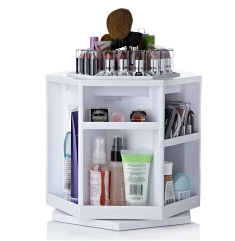 Spin Cosmetic Organizer By L360 White abs plastic tabletop 360 degree spinning cosmetic organizer box makeup stand pink in home