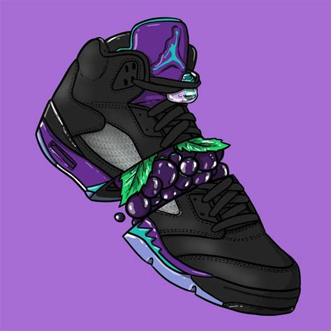 wallpaper jordan cartoon sneaker art jordan v quot black grape quot sneaker art