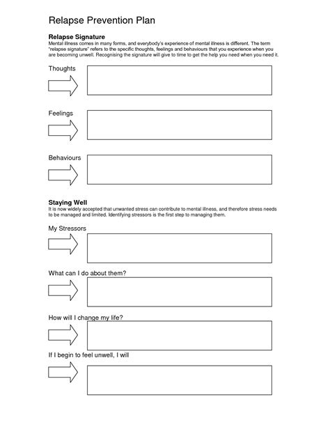 20 best images of addiction relapse prevention worksheet