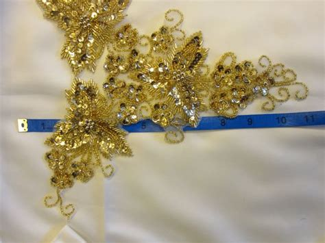 gold applique gold beaded applique vintage beaded and sequined golden