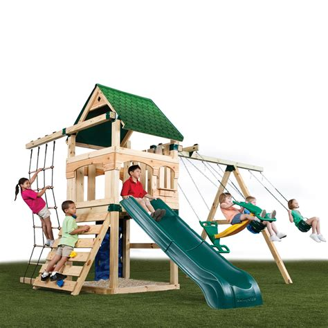 lowes swing sets installed shop swing n slide 174 creekside no cut swing set kit at
