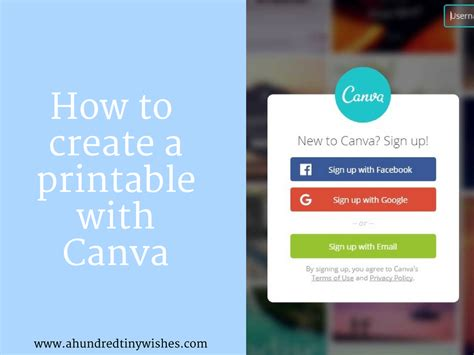 canva login page how to create a printable with canva a hundred tiny wishes