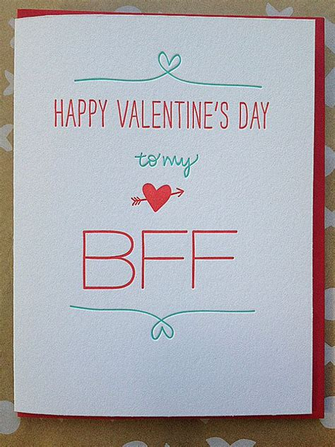 valentines for best friends friend s card letterpress for bff by