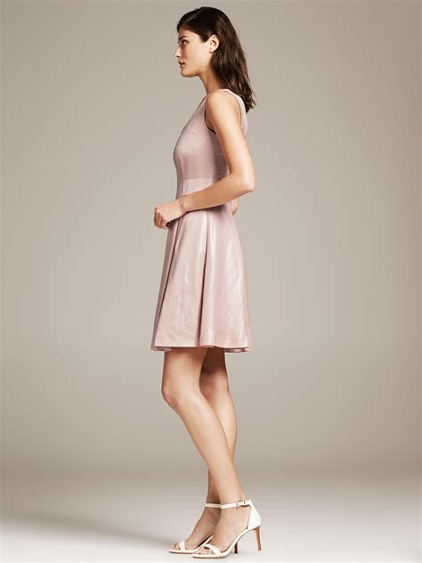 light pink fit and flare dress lyst banana republic monogram metallic pink fit and