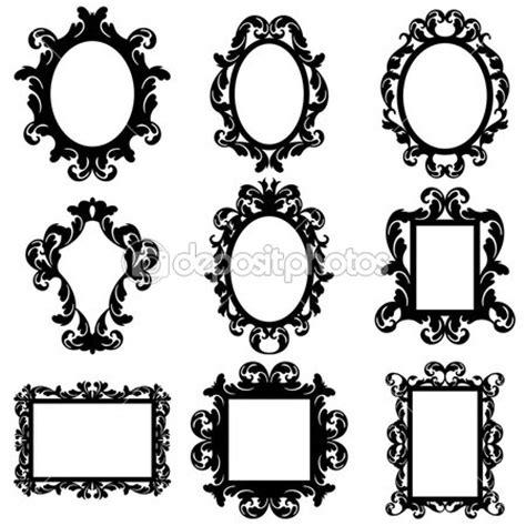 Square Marco Oval jeu de silhouettes cadre baroque vectorielles
