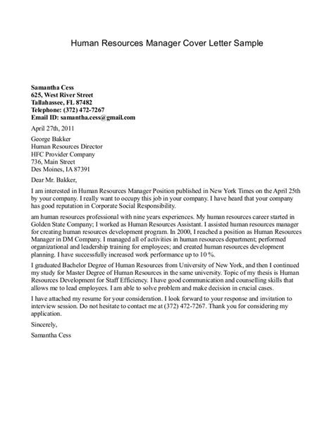 cover letter for human resource cover letter exle for a human resources writing