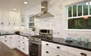 Kitchen Backsplash Ideas With Black Granite Countertops by Black Countertop White Marble Subway Backsplash