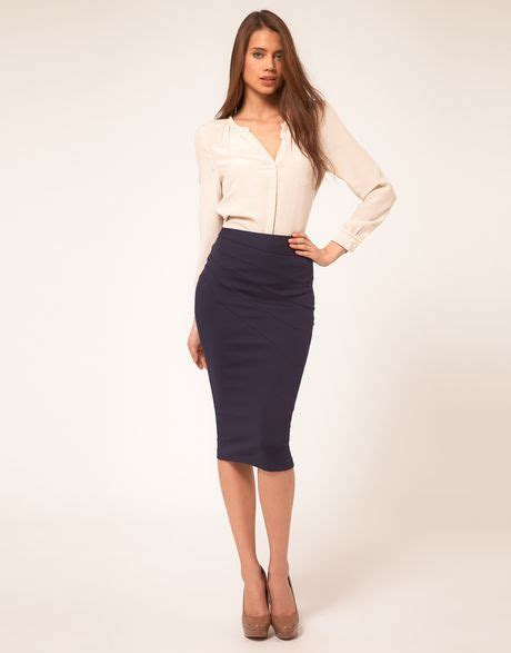 asos collection asos pleat side ponti pencil skirt in