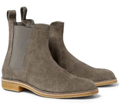 Handmade Mens Boots - handmade mens gray color chelsea suede leather boots