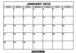 E Calendar 2018 January 2018 Calendar Printable Template With Holidays Pdf