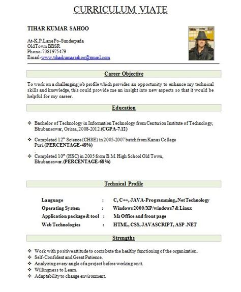 best resume format freshers free cv for search kavita