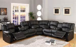 Black Leather Reclining Sectional Sofa Black Faux Leather Reclining Motion Sectional Sofa W Storage Console