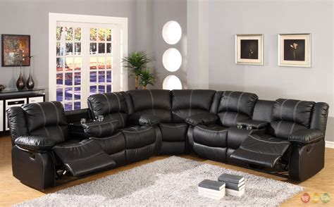 leather reclining sectional with console black faux leather reclining motion sectional sofa w