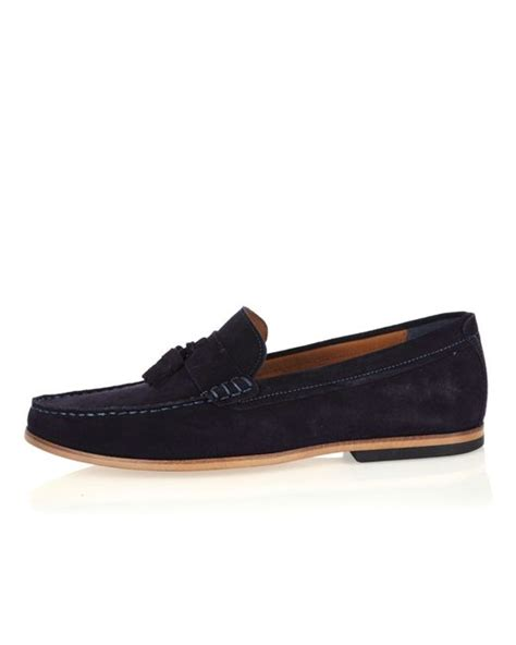 mens blue suede tassel loafers river island navy suede tassel loafers in blue for lyst