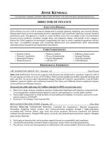 Finance Resume Exle by Free Director Of Finance Resume Exle